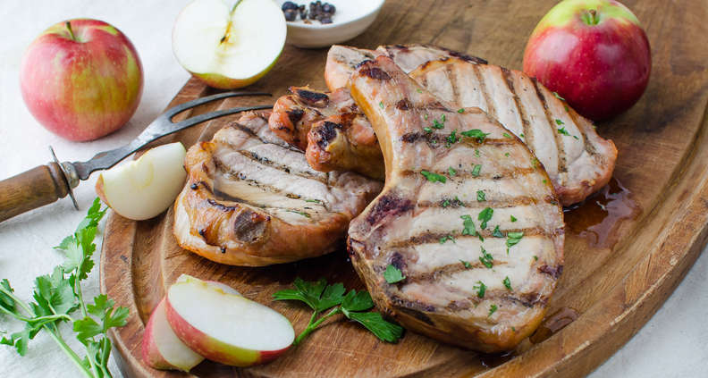 Apple-Bourbon Brined and Smoked Pork Chops