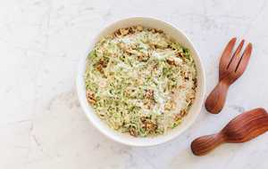 Shaved Brussels Sprouts Caesar Salad with Pecorino and Walnuts