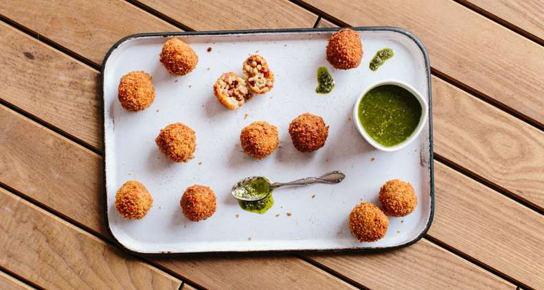 Hoppin' John Rice Fritters with Collard Green Pesto