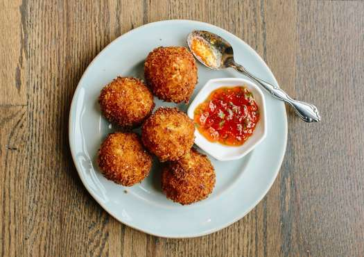 Cheesy Grit Fritters with Hot Pepper Jelly