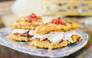 Leftover Turkey Sandwich on Dressing Waffles