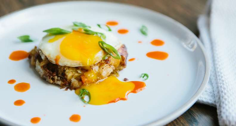 Leftover Vegetable Hash with Sunny Side Up Egg