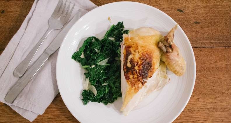 Roast Chicken Under a Brick with Kale
