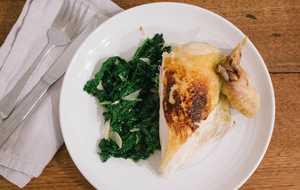 Roast Chicken Under a Brick with Kale