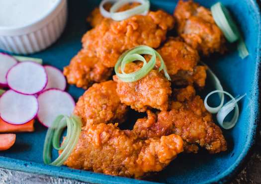 Buffalo Sweetbreads with Blue Cheese Dressing