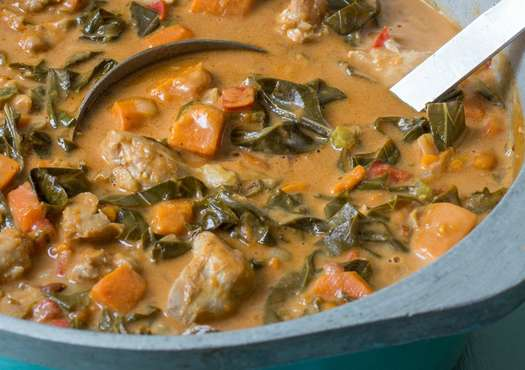 West African Chicken Stew with Collard Greens and Peanuts