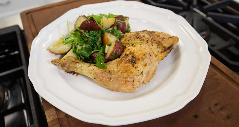 Roasted Chicken with Potatoes and Arugula