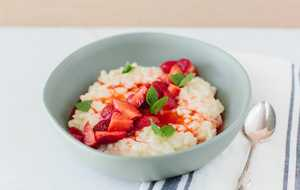 Carolina Gold Rice Pudding with Strawberries