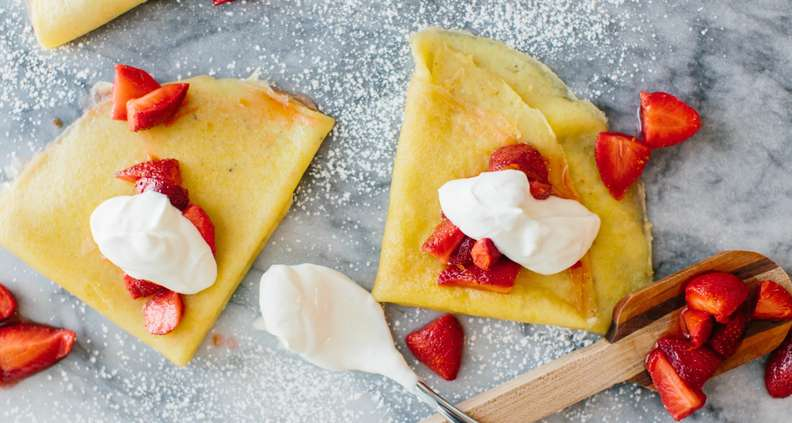 Cornmeal Crepes with Strawberries and Clabbered Cream