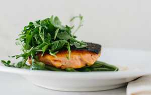 Seared Salmon with Sugar Snap Peas and Horseradish Cream