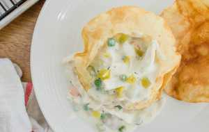 Chicken-Green Chile Pot Pie in Puffy Tortilla Shells