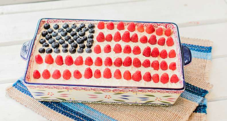 Strawberry Poke Flag Cake