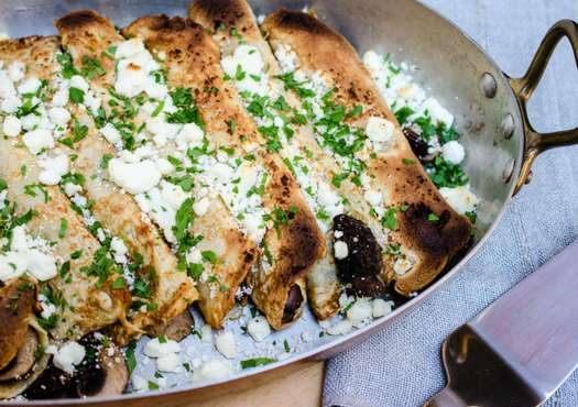 Mushroom crepes with goat cheese
