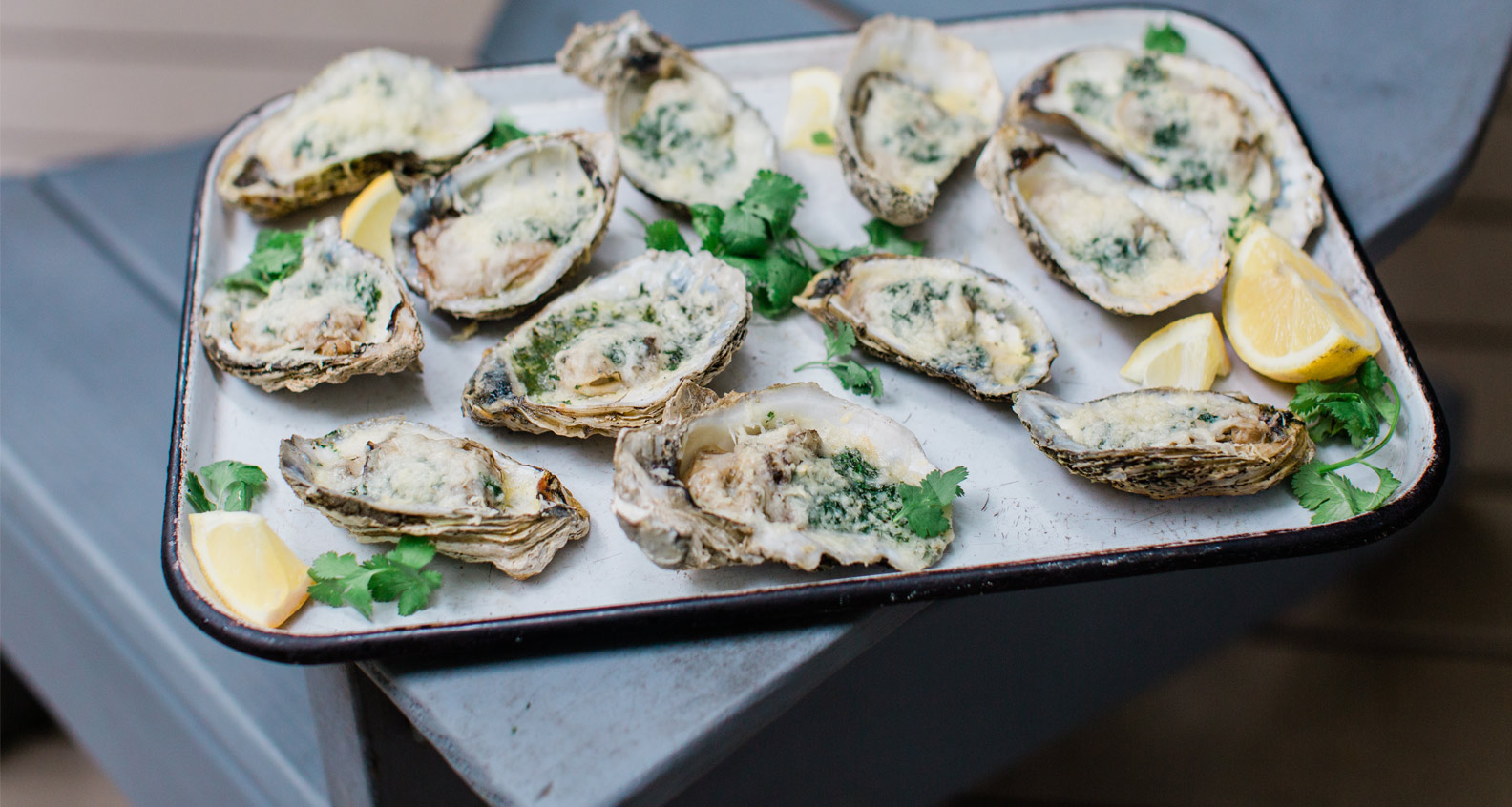 Grilled Oysters with Garlic Parmesan Butter