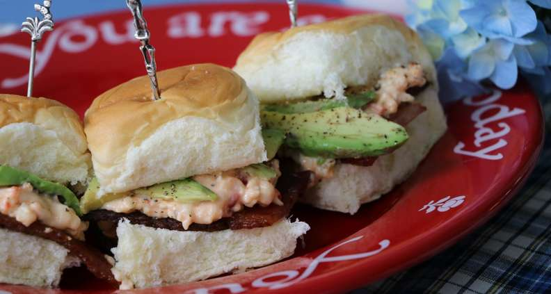 pimento cheese, bacon and avocado sliders