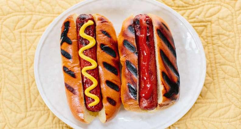 Ketchup Mustard hot dogs