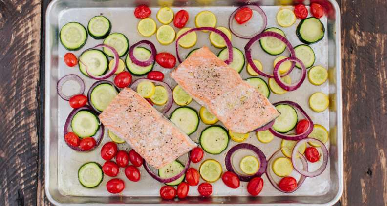 salmon with summer veggies