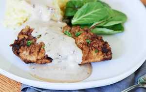 chicken fried steak with milk gravy