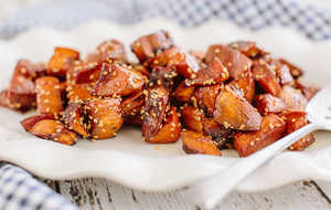 sweet potatoes with sorghum and benne seeds