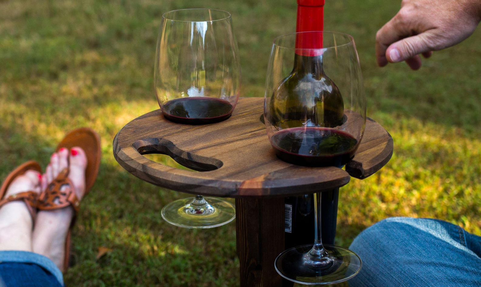 Hoffmaster Woodworks folding wine table in action
