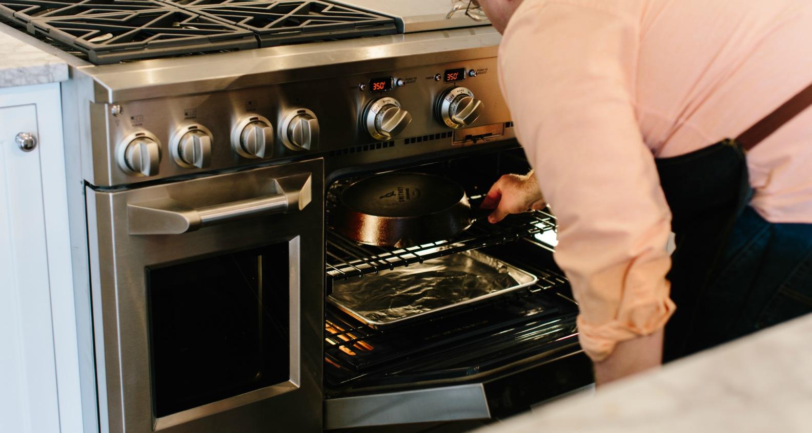 Baking skillet in oven