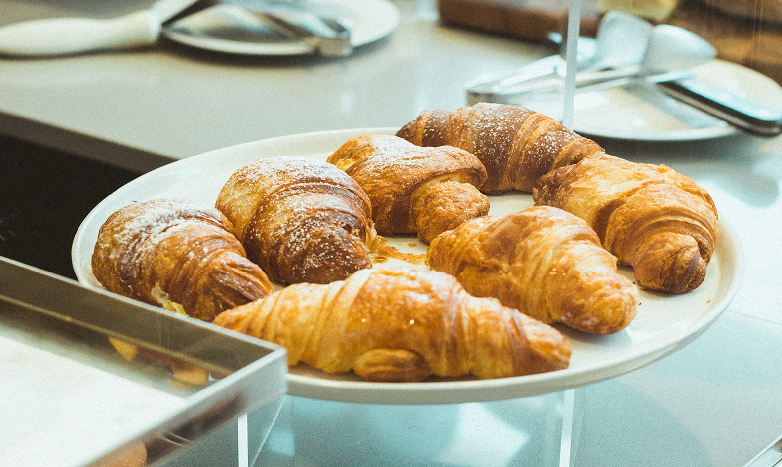 A plate of croissants
