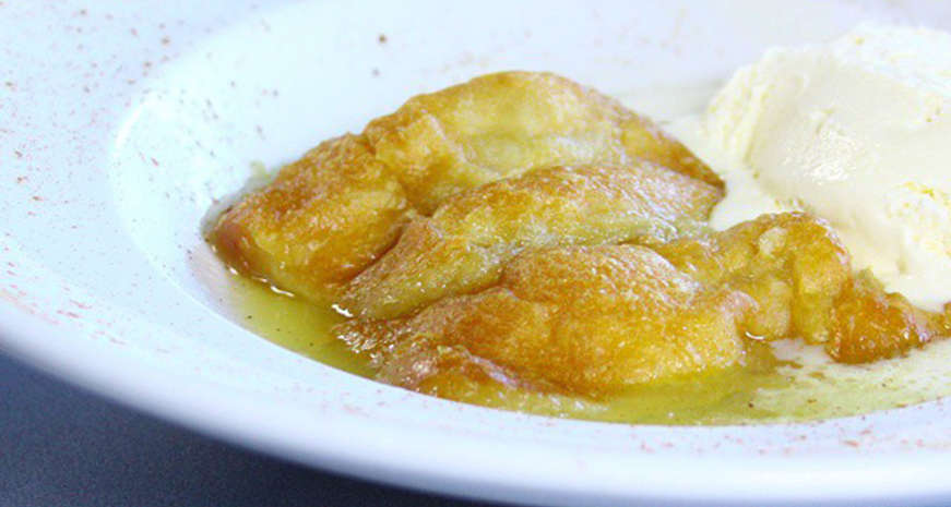 Hughley's peach dumplings