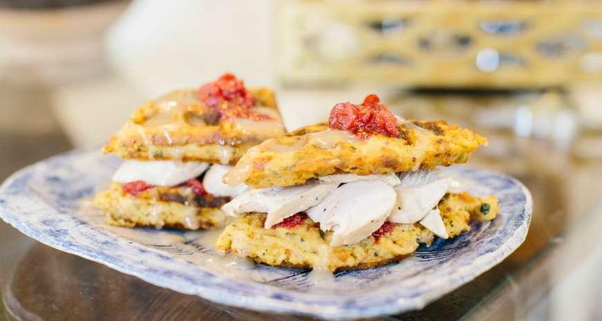 Turkey Sandwiches on Dressing Waffles