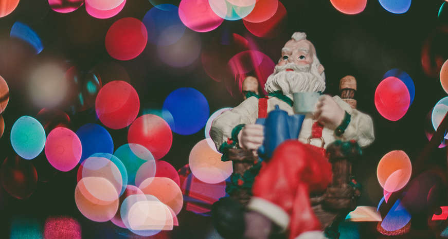 Santa with Christmas lights