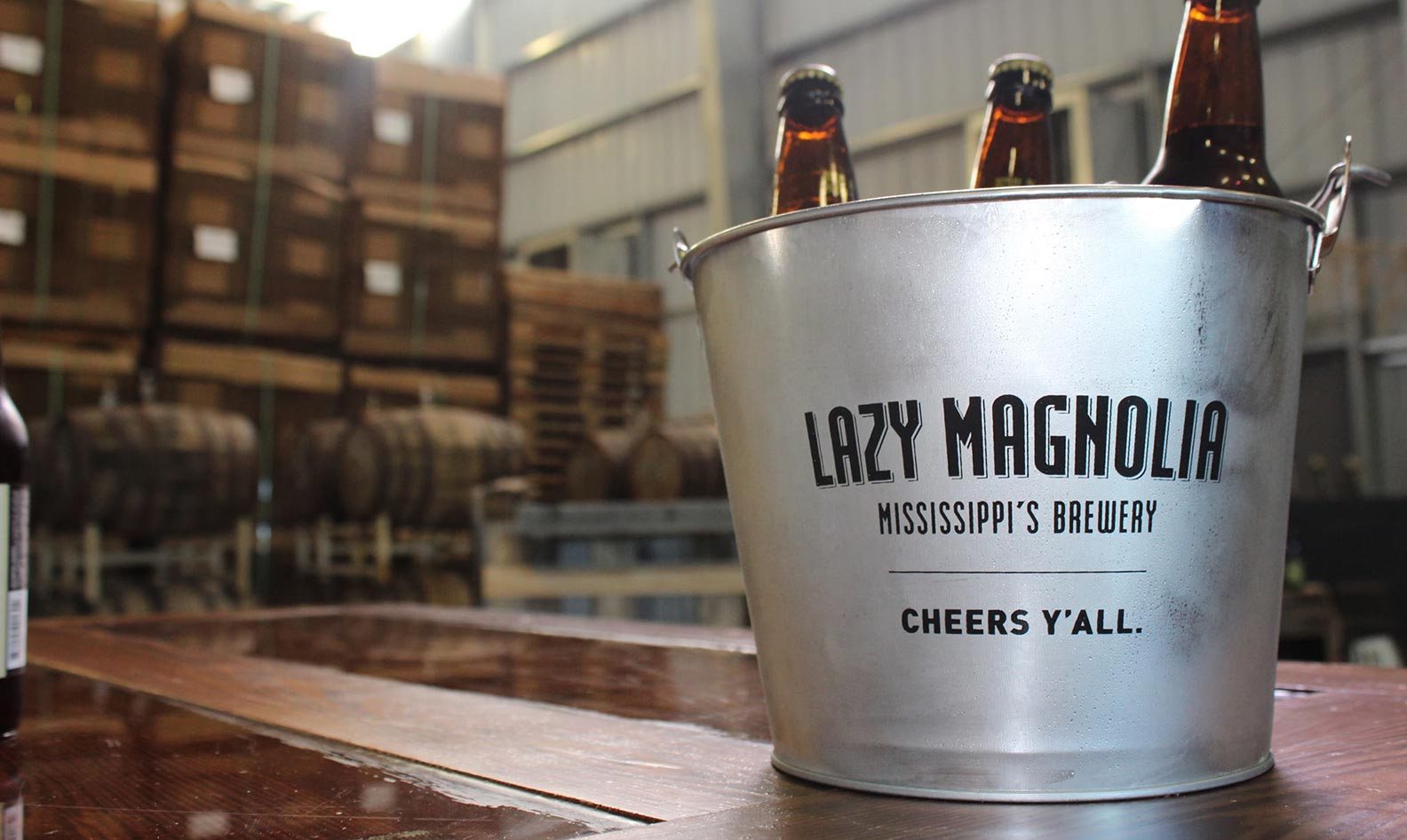 A bucket of Lazy Magnolia at the brewery