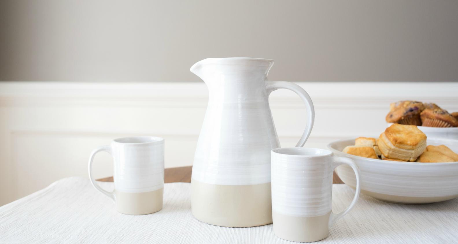 Stoneware & Co mugs and pitcher