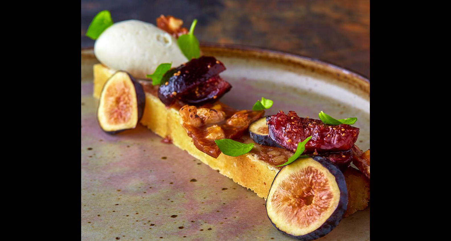 Walnut tart with gorgonzola mousse & fig compote created by Huff