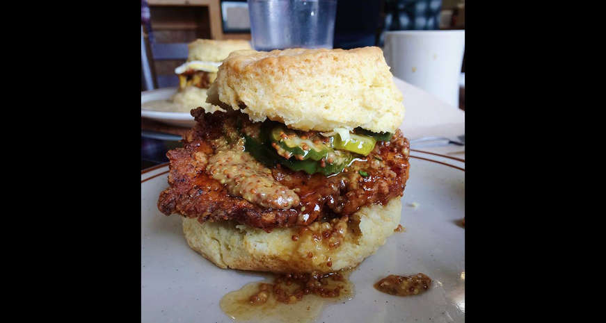 Biscuit sandwich with fried chicken from Pine State Biscuits