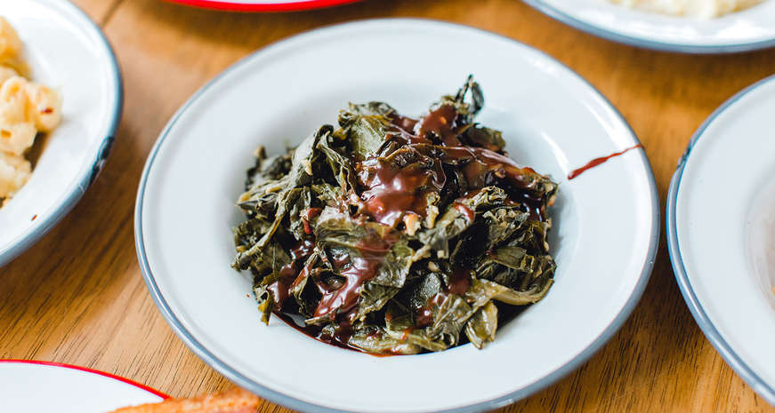 Chocolate-covered collard greens