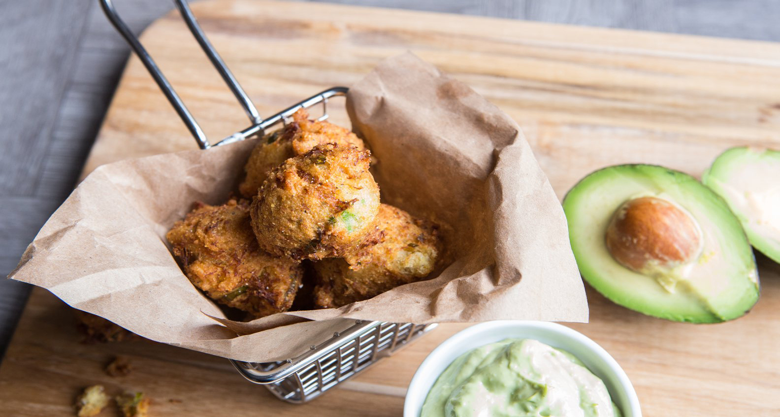 Crab Hushpuppies with Avocado Aioli