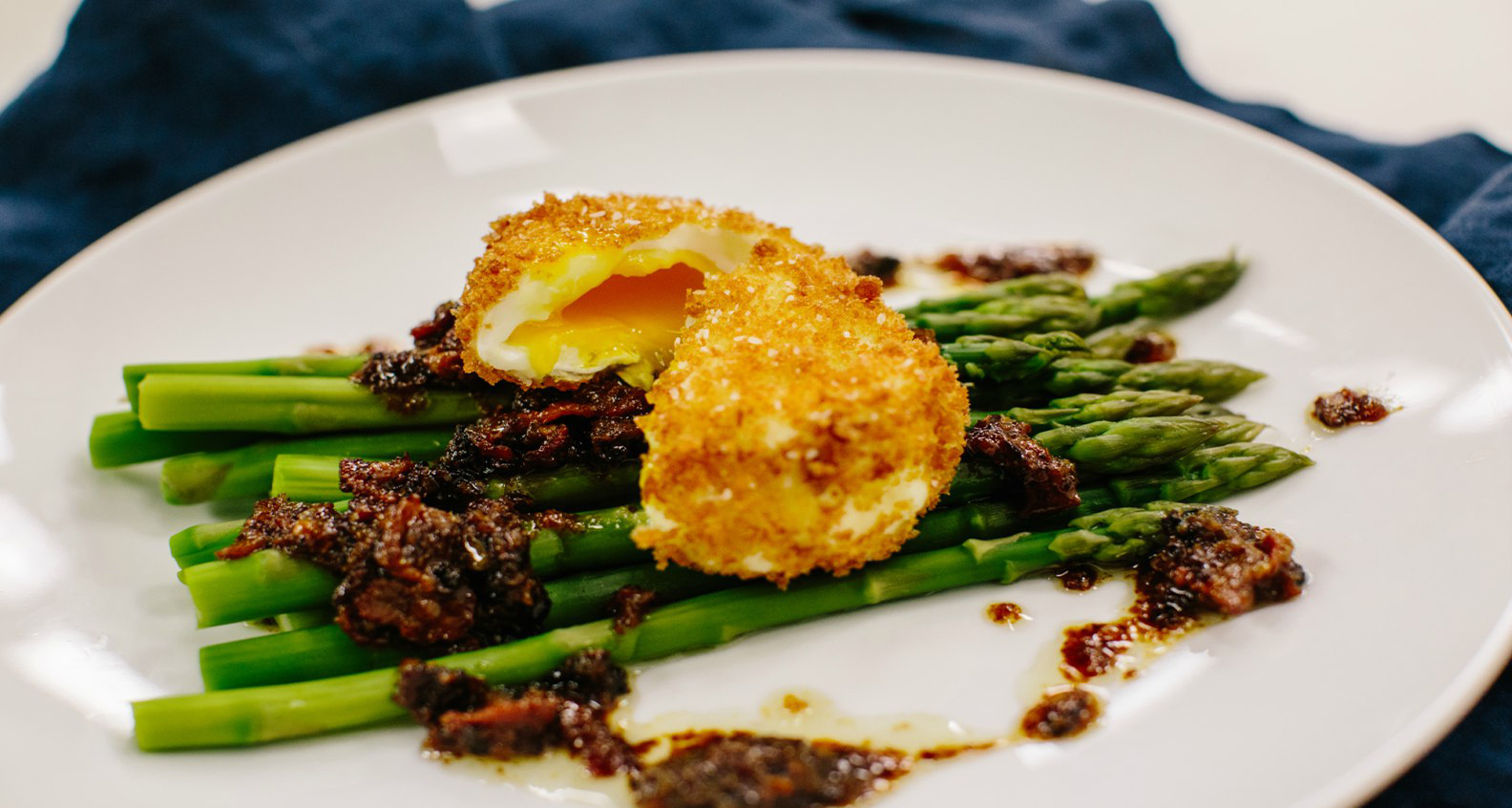 Asparagus with Crispy Poached Eggs and Warm Bacon Vinaigrette