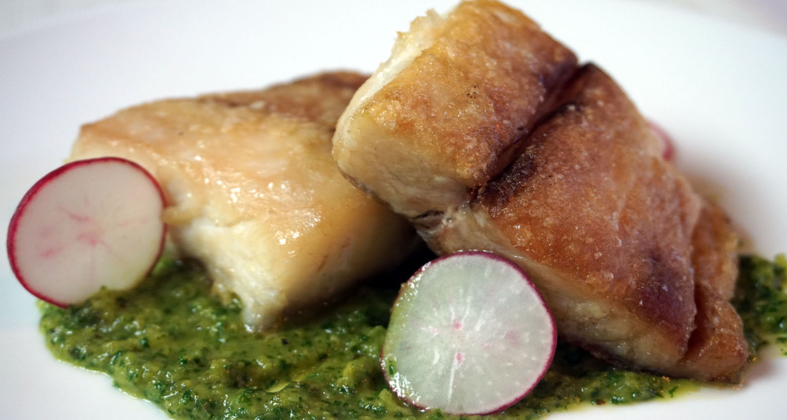 Cast Iron Grilled Corvina with Green Tomato Salsa Verde