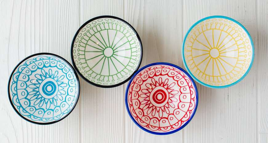 Creative Co-Op Hand-Painted Stoneware Bowls
