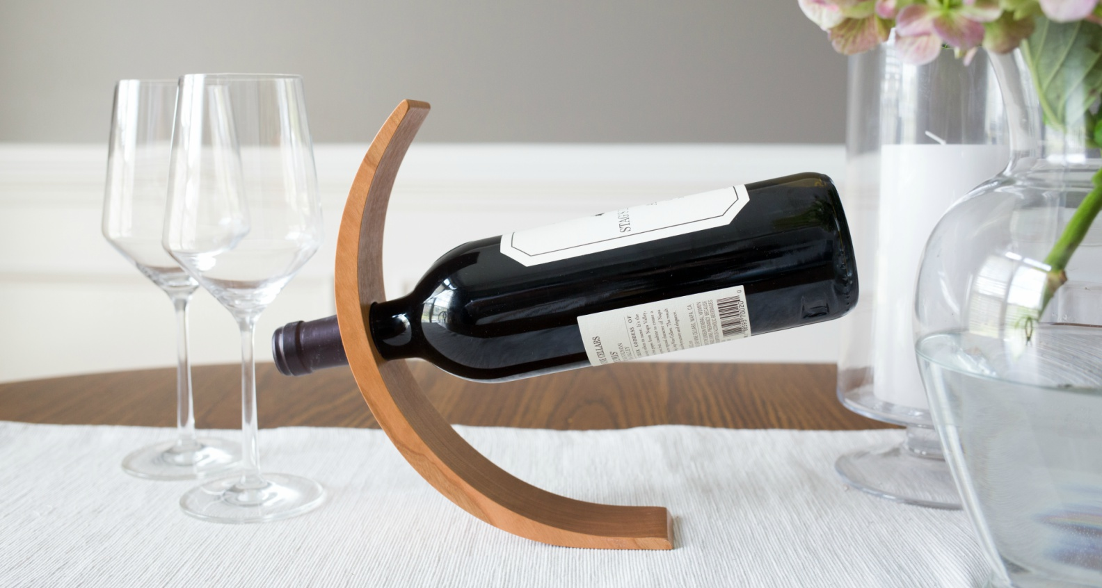 Hoffmaster Woodworks Balancing Cherry Wine Bottle Holder