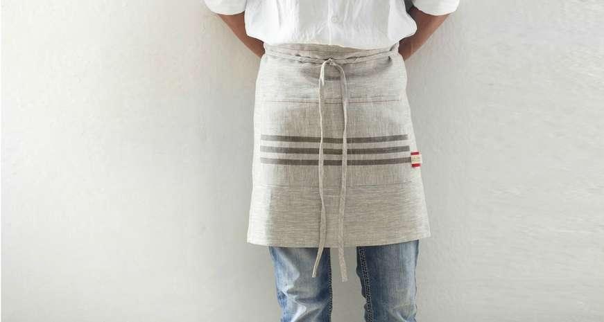 Celina Mancurti Short Linen Kitchen Apron