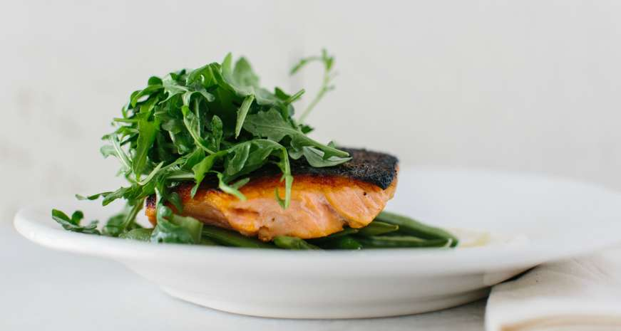 Seared Salmon with Sugar Snaps and Horseradish Cream