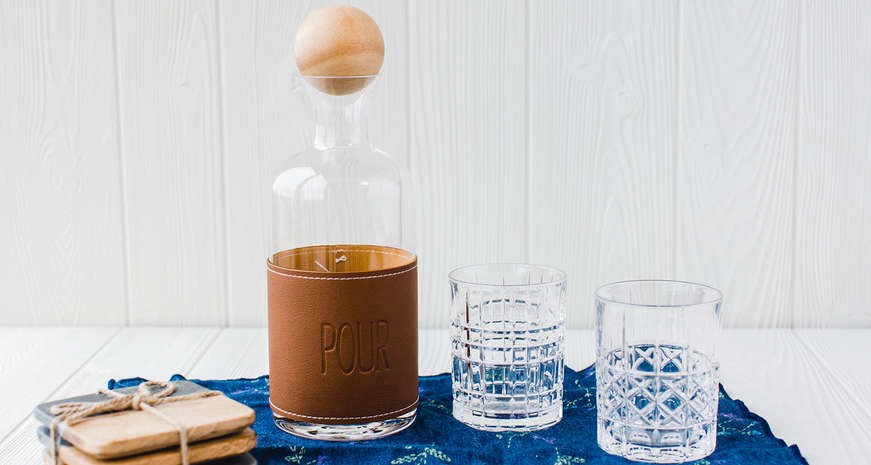 "Mud Pie Leather ""Pour"" Decanter"
