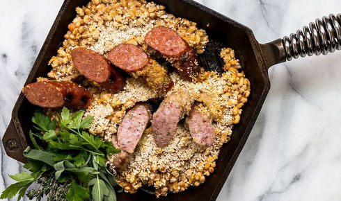 food inside a 10-inch FINEX cast iron grill pan