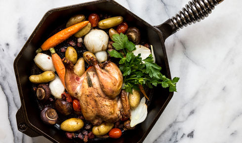 food cooking inside a FINEX 12-inch cast iron skillet