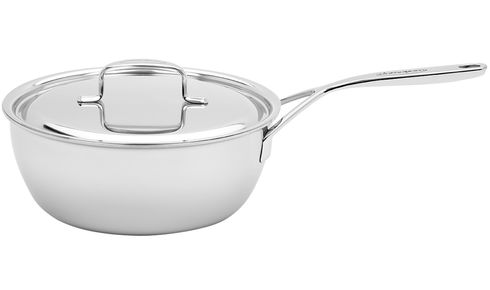 Large stainless steel saucepan with lid