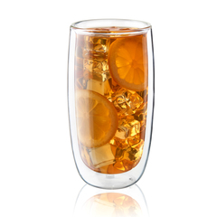 Double-walled Sorrento 2 Piece 16oz Beverage Glass with iced tea