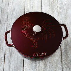 Staub cast iron 3 75 qt essential french oven rooster grenadine 40