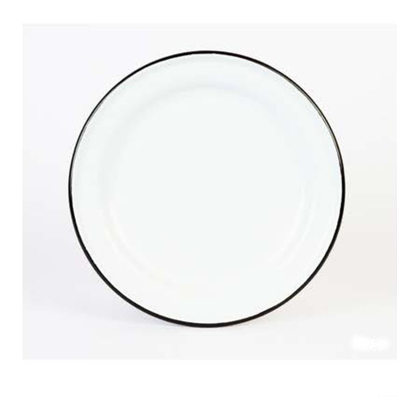white Crow Canyon Home Enamel Dinner Plate with black rim  sc 1 st  Southern Kitchen & Crow Canyon Home Enamel Dinner Plate 10-inch Black | Southern Kitchen