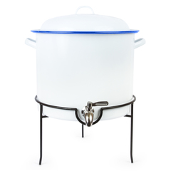 white Crow Canyon dispenser with blue rim