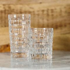 a tall and short clear nachtmann glass